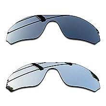 SEEABLE Premium Polarized Mirror Replacement Lenses for Oakley RadarLock Edge OO9183 Sunglasses - Black Chrome Mirror+Silver Mirror