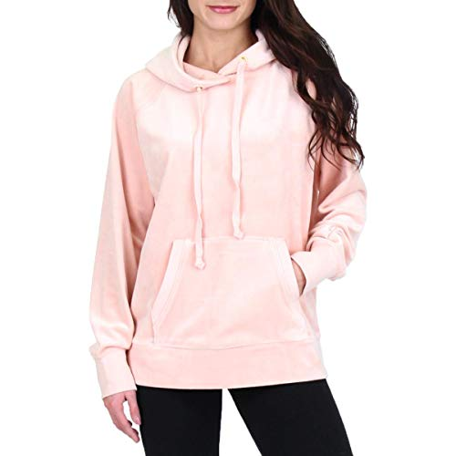 (Juicy Couture Black Label Womens Luxe Velour Hooded Pullover Jacket Pink Size M)