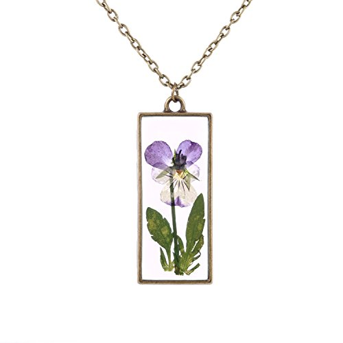 FM FM42 Pressed Dried Real Purple Pansy Flower Square Pendant Necklace - Resin Necklace Flower