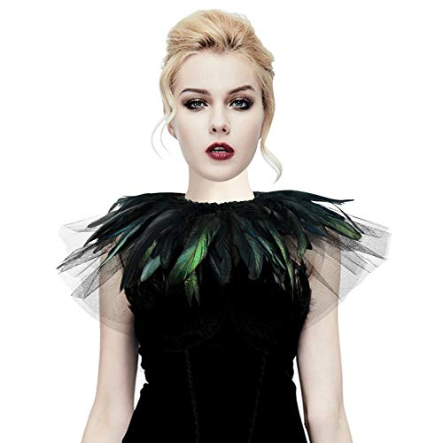 HOMELEX Homelix White Black Feather Cape Shawl Collar (F02-black)]()