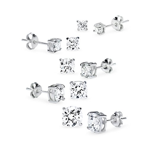 Sterling Silver Five Pair Set of Round CZ Stud Earrings in Sizes 2mm 3mm 4mm 5mm -