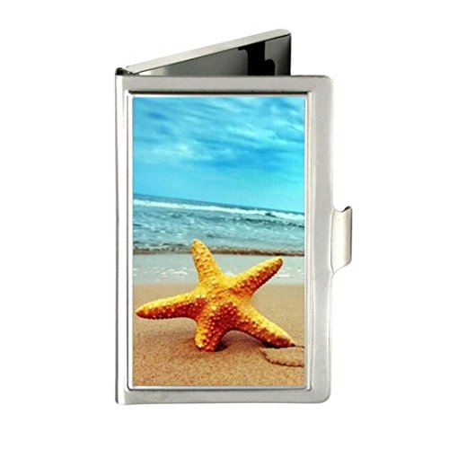 Beach Starfish beautiful Custom Images Business Card Holder Name Case Stainless Box Case Good Gift