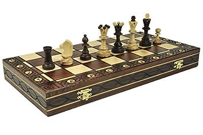 """Brown Senator Wooden Chess Set - Weighted Chessmen 16 x 16"""""""