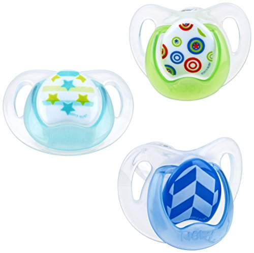 Nuby Orthodontic 3 Piece Pacifiers with Soothing Soft Bristles, Colors May Vary
