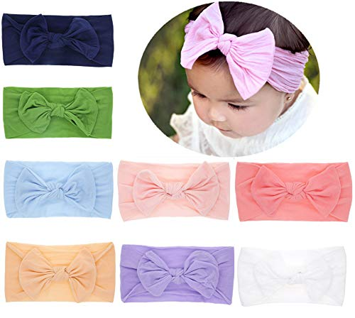 Baby Headbands Turban Knotted, Girl's Hairbands for Newborn,Toddler and Childrens (Headband Nylon Black)