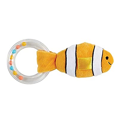 Stephan Baby Stephan Baby Ocean Friends Plush Teething Ring Rattle Available in 4 Designs, Stripey Yellow and White Fish : Baby