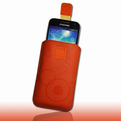 Handy Tasche Hülle Etui Kunstleder orange / braun mit Zugband M74 Gr.3 für Apple iPhone 5 / iPhone 5S / iPhone 5C / Samsung Galaxy ACE 3 S7270 / S7275 / Sony Xperia M / Blackberry Q5 / Vodafone Smart