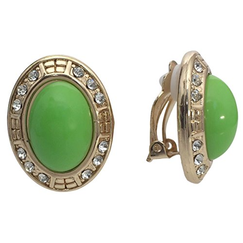 Gold Tone Oval Clip on Lightweight Rhinestone Formal Fancy Casual Earrings (Lime Green) ()