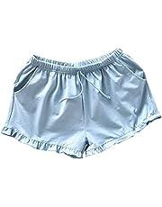 PRETYZOOM Pantalones Cortos Caseros Mujeres Pantalones Cortos de Algodón Casuales Pantalones Cortos de Playa de Verano Pantalones Cortos Sueltos Pantalones Cortos Pijamas para Dama (Talla XL Azul)