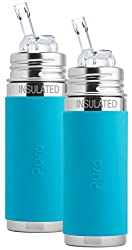 Pura Kiki Stainless Steel Vacuum Insulated Straw Bottle with Aqua Silicone Sleeve 9 Ounce, Set of 2