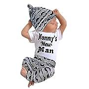 Sunward Newborn Baby Boy 3PCS Set Romper Tops And Long Pants With Hat (3/6M, Black)