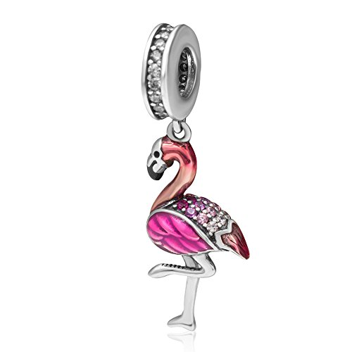 Ollia Jewelry Pink Flamingo Solid 925 Sterling Silver Dangle Charm with Clear CZ Stones and Gradient Red Enamel Loyal Love European Style Pendant (Pink Silver Charm)
