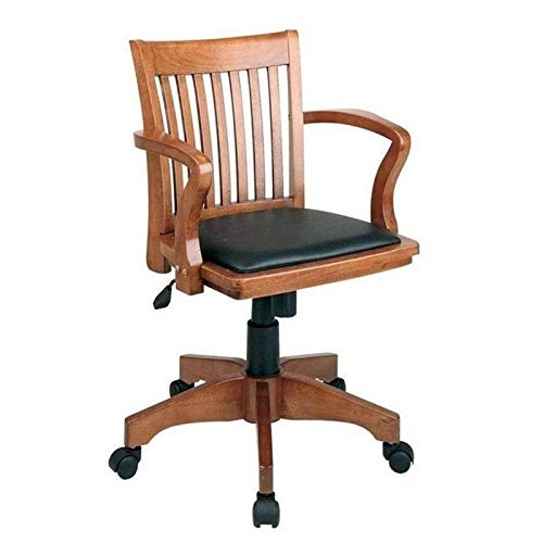 Scranton & Co Wood Bankers Arm Office Chair with Vinyl Padded Seat