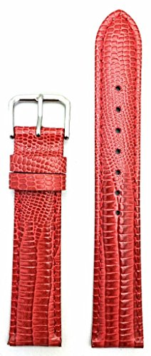 18mm Red Genuine Leather Watch Band | Teju Lizard Grained, Lightly Padded Replacement Wrist Strap That Brings New Life to Any Watch (Mens Standard Length)