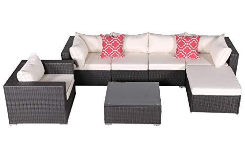 Do4U 7 Pieces Outdoor Patio PE Rattan Wicker Sofa Sectional Furniture Set Conversation Set- Beige Seat Cushions & Glass Coffee Table| Patio, Backyard, Pool| Steel Frame (4555-EXP-Beige)
