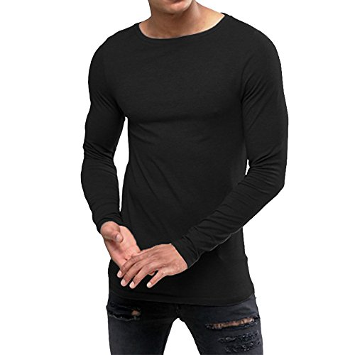 OA ONRUSH AESTHETICS OA Men's Extreme Muscle Fit Long Sleeve T-Shirt with Boat Neck Black M Stretch Muscle T-shirt