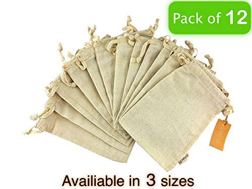 12 Pcs Reusable Produce Bags, Organic Cotton Muslin Produce Storage Bag with Drawstring - Medium 8x10 Inch - Sachet Canvas Bags, Biodegradable Fabric Bags - Sandwich and Snack Bags by Leafico