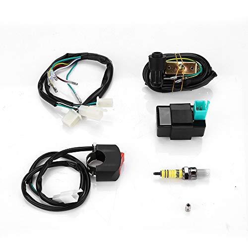 Wiring Harness Loom Kill Switch Coil CDI Spark Plug Kits For 110CC 125CC 140cc ATV Pit Bike: