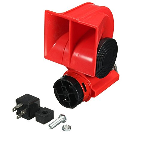 flexzon Twin Dual Tone Compact Air Loud Horn 24V Compressor Red Truck Car Bus Van