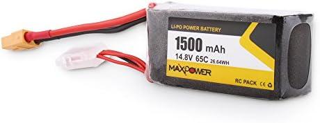 Ajcoflt 14.8V 1500mAh 65C 4S Li-Po Batería XT60 Plug para Wizard ...