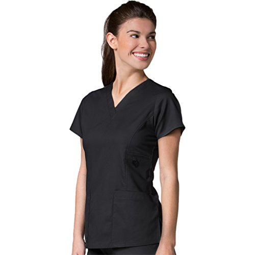 maevn-womens-eon-v-neck-pocket-scrub-top-black-medium