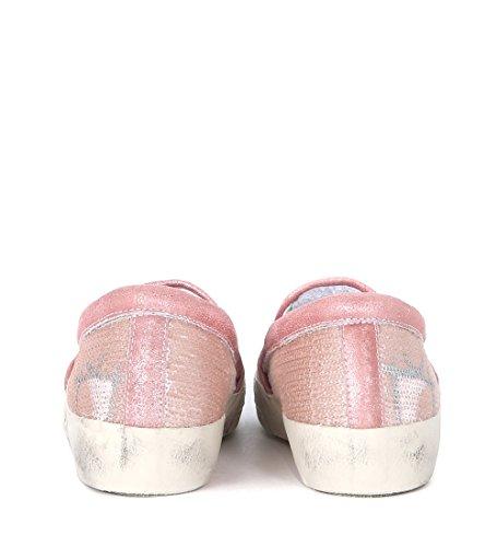 Slip-On Philippe Model en piel laminada con lentejuelas Rosa