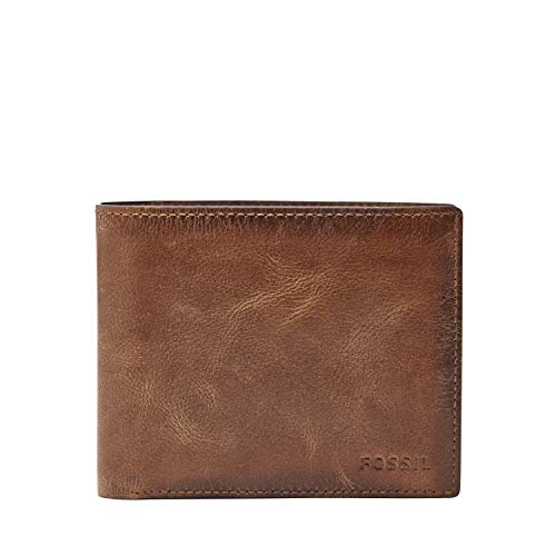 Fossil Men's Derrick Leather RFID Blocking Large Coin Pocket Bifold Wallet, Brown, One Size