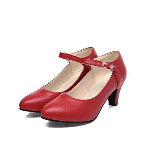 Baskets Talons Doigts Escarpins Rouges De Mary Pour Boucle Fermes Bouts Jane Chaussures pais Femmes U8XEqPxw
