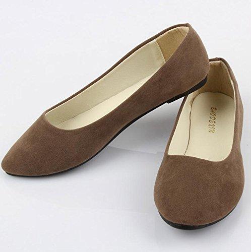 LvYuan Mujeres / Piso / Suede / Oficina & Carrera / talón plano / Comfort Outdoor Casual fashion / Mocasines y Slip-Ons / Walking zapatos perezoso Brown