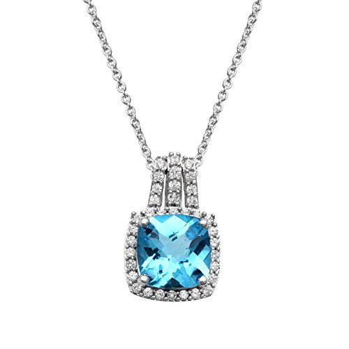 Jewelili Sterling Silver Blue Topaz Cushion with Created White Sapphire Pendant Necklace, 18