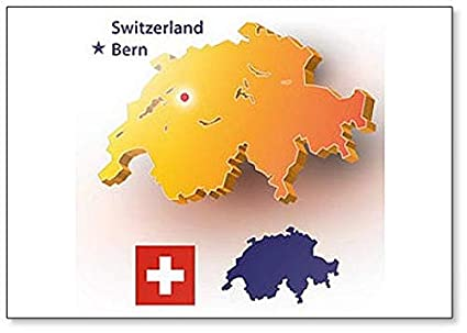 Amazon.com: Map of Switzerland. Swiss Flag with The Country\'s ...