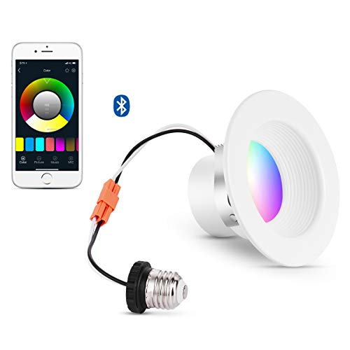 iLintek Smart LED Downlight, 6 inch Multicolored Dimmable, Bluetooth App Controlled, Equivalent 85w(13w), Compatible with Alexa Google Home(Hub Required), Color Changing Recessed Lighting 2700K-6500K