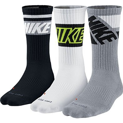 New Nike 3 Pack Unisex Dri-FIT Fly Rise Crew Socks Blk-Gry/Wht-Blk/Gry-Blk Large