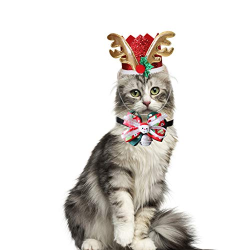RYPET Cat Christmas Costume - Christmas Antler Cap and Bowtie with Bells for Small to Medium Dogs Cats Christmas Party