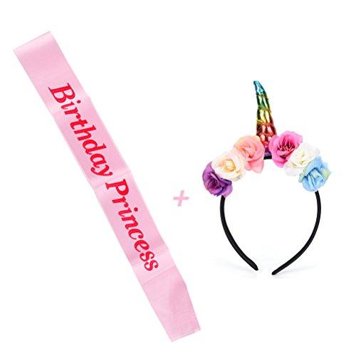 Pink Birthday Princess Satin Sash with Unicorn Hairband Set, Perfect Birthday Party Dressing