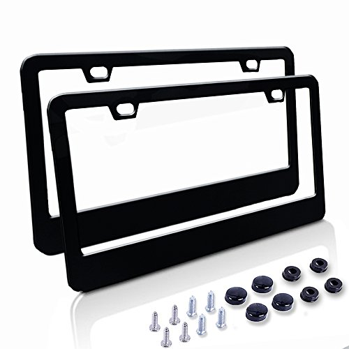 Car License Plate Frame - Matte Stainless Steel License Plate Covers with Free Screws Fasteners + Black Screw Caps (2 Pack-Black) - License Tag Frame