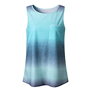 Women's Tie-Dye Gradient Vests, Zlolia Long Racerback Tunics Round Neck Casual Loose Tank Tops with Pocket(FBA) 1