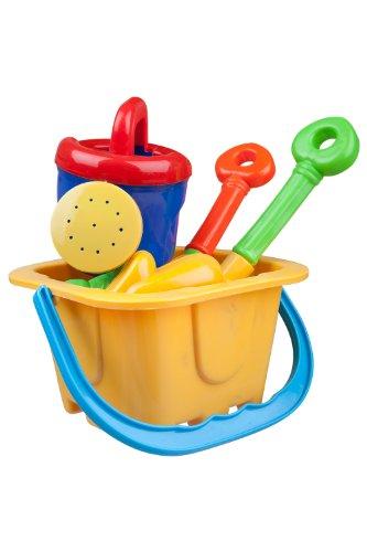Mountain Warehouse Kinder Urlaub Sand Form Spaß Spielzeug Eimer und Schaufel Strand Set Sommer Gelbe One Size