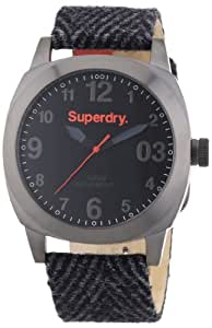 Superdry Thor Tweed Men's Black Dial Fabric Band Watch - SYG126UM