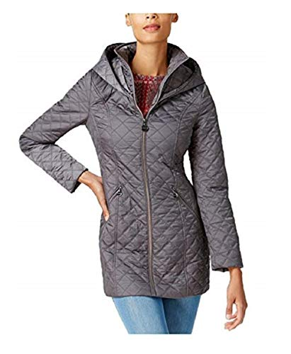 Quilted Coat Laundry (Laundry by Shelli Segal Women's Hooded Quilted Jacket, Coat Grey (S))