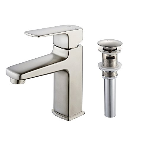 (Virtus Single Lever Basin Bathroom Faucet and Pop Up Drain with Overflow Brushed)