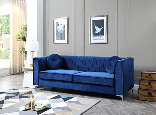 Glory Furniture Delray Sofa, Navy Blue. Living Room Furniture, 3 Seater - Velvet- soft velvet fabric adds style and comfort to this stunning collection. Chrome legs- Top Quality chrome that resists fading and tarnishing adds a modern touch to this already beautiful piece. Throw pillows- plush round pillows are included with every Glory Furniture Delray Item for extra comfort. - sofas-couches, living-room-furniture, living-room - 41CU8AhUcdL -