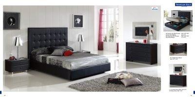 ESF Penelope Black Leatherette & Veneer Platform Bedroom Set ''W/Storage'' - Queen Size by (ESF) European Style Furniture