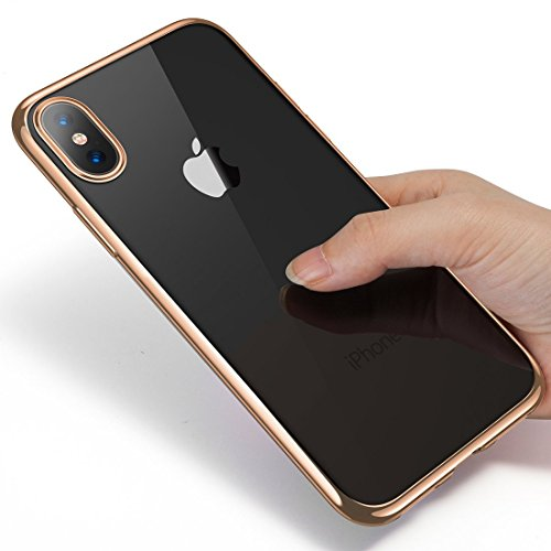 iPhone X Case, Humixx [Sparkle Series]Gold Crystal Clear Soft TPU Gel Skin Ultra-Thin Transparent Flexible Premium Cover [Wireless Charger Compatible] for iPhone 10/X