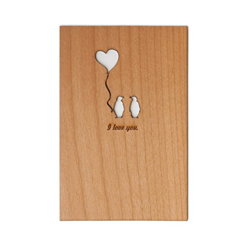 Engraved Card (Penguin Love Laser Cut Wood Card (Love / 5 Year Anniversary / Boyfriend or Girlfriend / Valentine's Day))