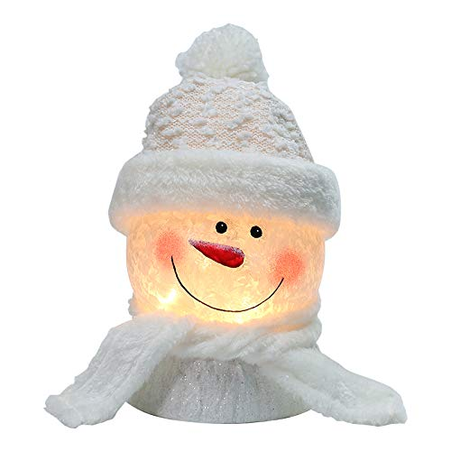 BOSQUEEN Lighted Snowman Christmas Lamp, Crystal Glass Snowballs Night Light with Santa Claus Hat for Thanksgiving Christmas Holidays Home décor & Ideal Gifts (White) from BOSQUEEN
