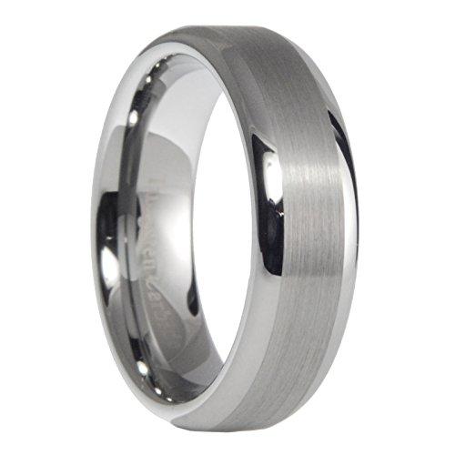 6 mm carburo de tungsteno hombres mujeres cepillado pulido boda banda anillo tamaño 7 – 15