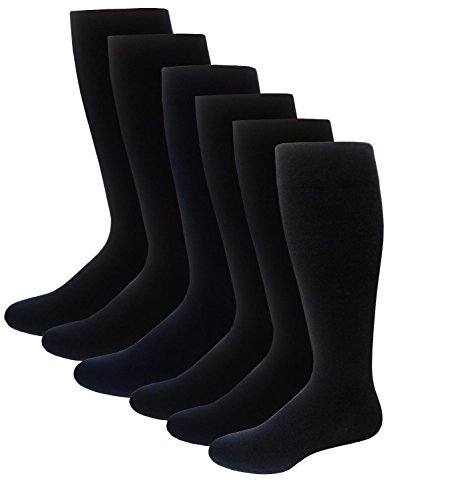 6 Pairs Pack Men's Dr Motion Graduated Compression Therapeutic Socks 8-15 mmHg 10-13 (6 Black)