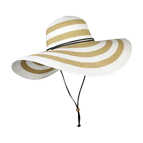 Elliott and Oliver Co. UPF 50+ Large Striped Straw Floppy Sun Hat- Adjustable Wide Brim Beach Hat with Chin Strap (White Stripe) -