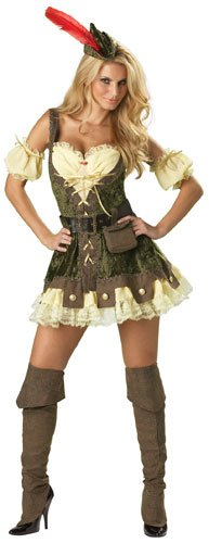 InCharacter Costumes, LLC Women's Racy Robin Hood Costume, Tan/Green, X-Small (The Halloween Costumes Store)